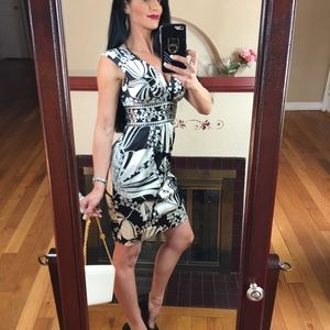 Maggy London floral black and white dress